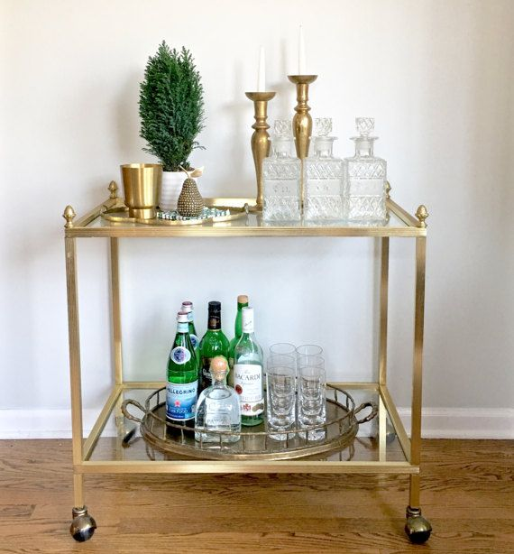 Vintage Gold Bar Cart Pinele Finials Rolling Tail Drink Chicago Delivery Only