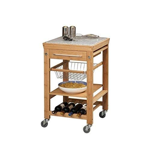Linon Kyoto Bamboo Inlaid Granite Mobile Kitchen Island Review