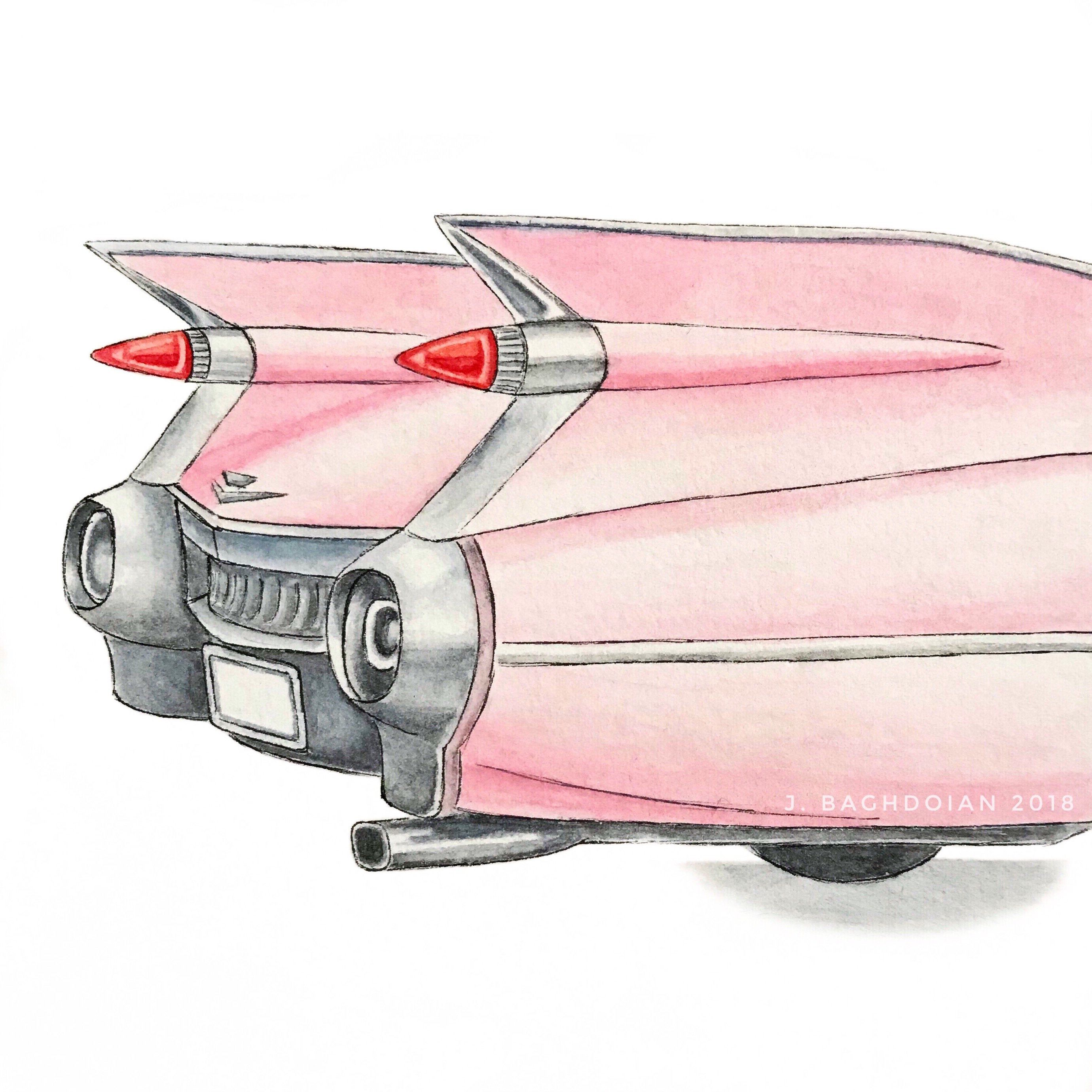 Pink Cadillac Classic Car Hand-Painted Original Watercolor | Etsy