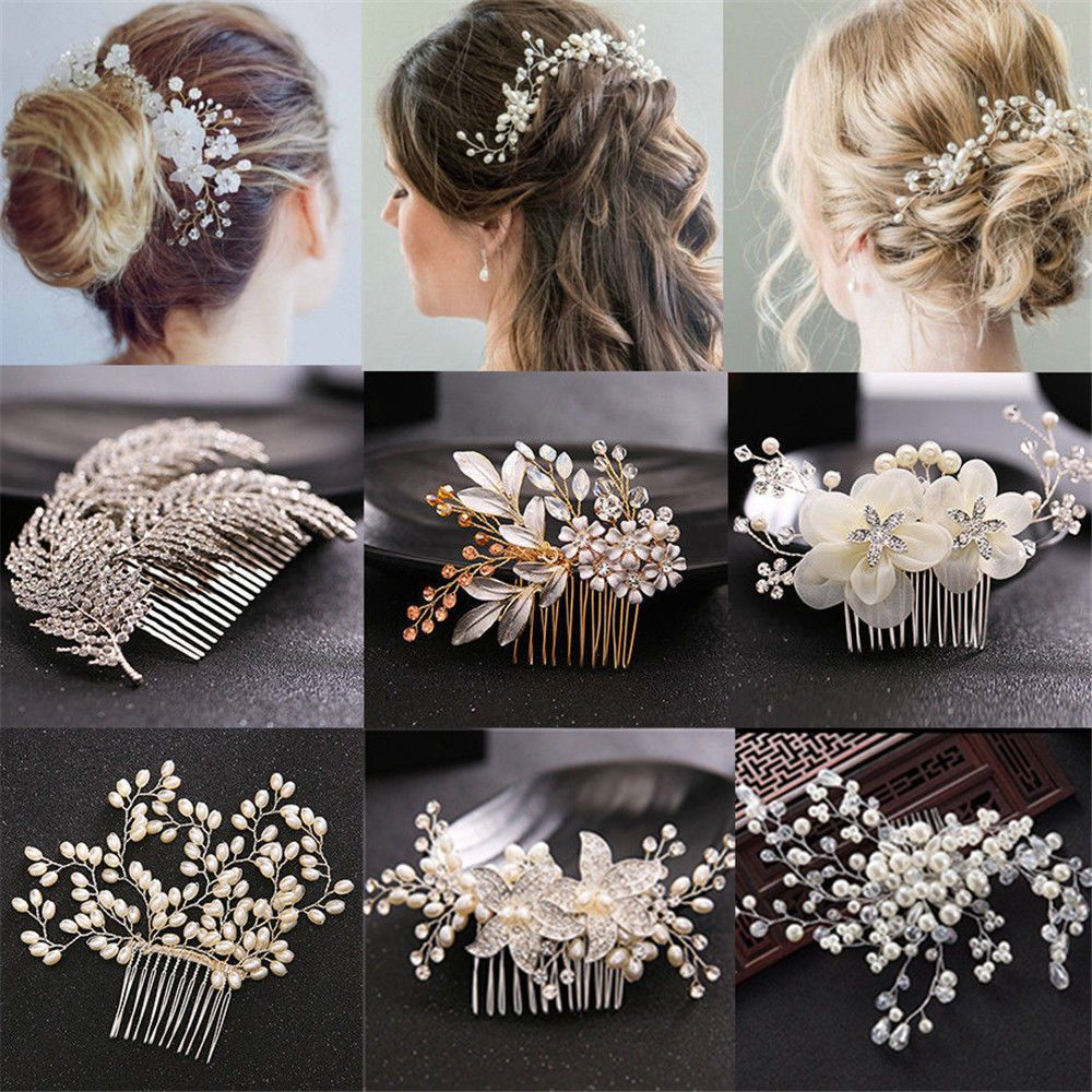 pearl flower crystal hair pins clips bridesmaid side comb
