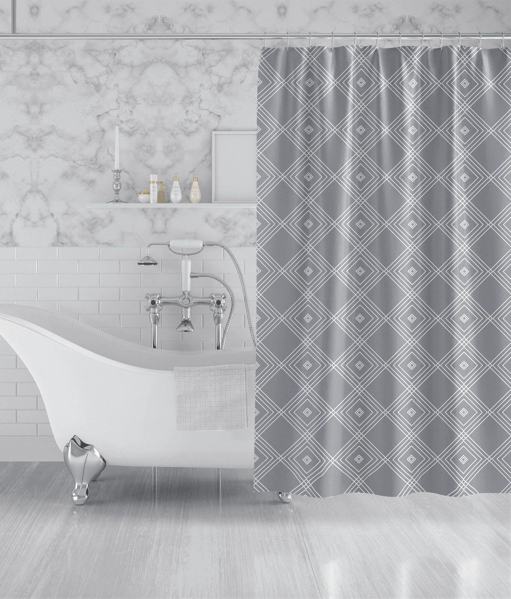 Gray White Geometric Fabric Shower Curtain Modern Custom Bath Curtain Machine Washable Extra Long 90x70 83x70 74x71 Fabric Shower Curtains Custom Bath Custom Bathroom