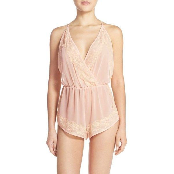 Women's Flora Nikrooz 'Ella' Chiffon Romper (£67) ❤ liked on Polyvore featuring jumpsuits, rompers, buff, pink rompers, pink romper, flora nikrooz, chiffon romper and playsuit romper