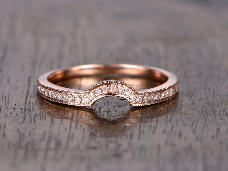 Diamond Wedding RingSolid 14K Rose goldHalf EternityAnniversary