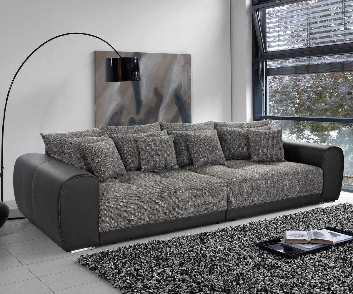 Big-Sofa Valeska 310x135 Schwarz Strukturstoff 12 Kissen