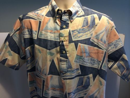 Vtg-Reyn-Spooner-Blue-Hawaiian-Shirt-Reverse-Print-Pullover-Sailboat-Catamaran