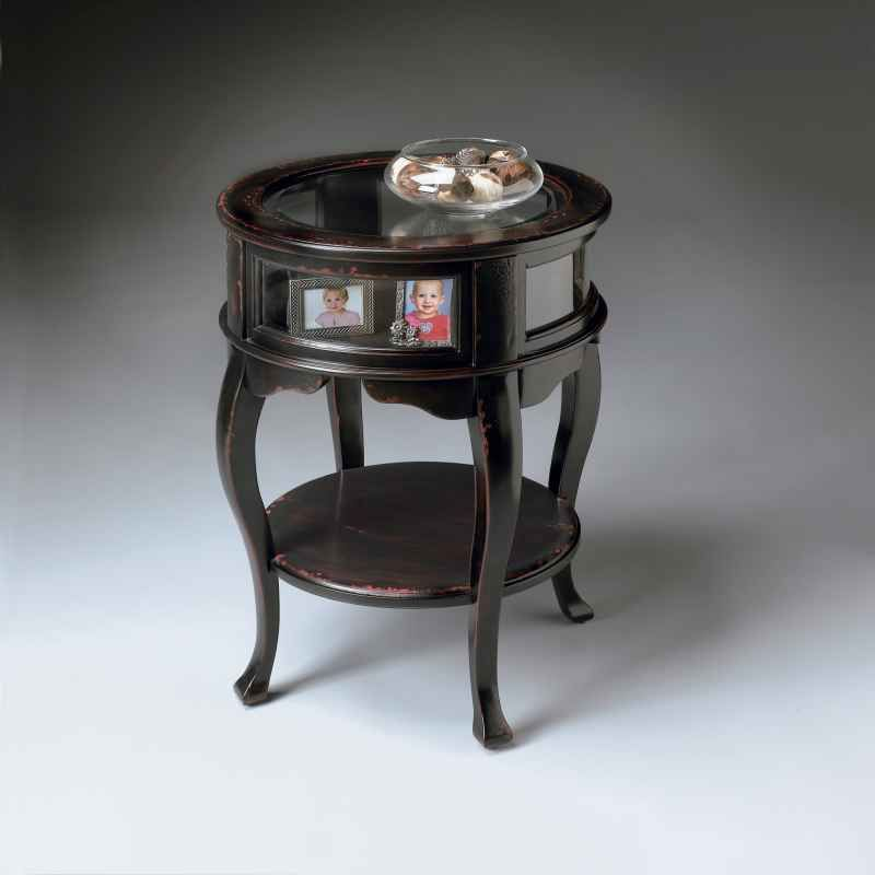 Handpainted Round Curio Table With Glass Panels By Butler