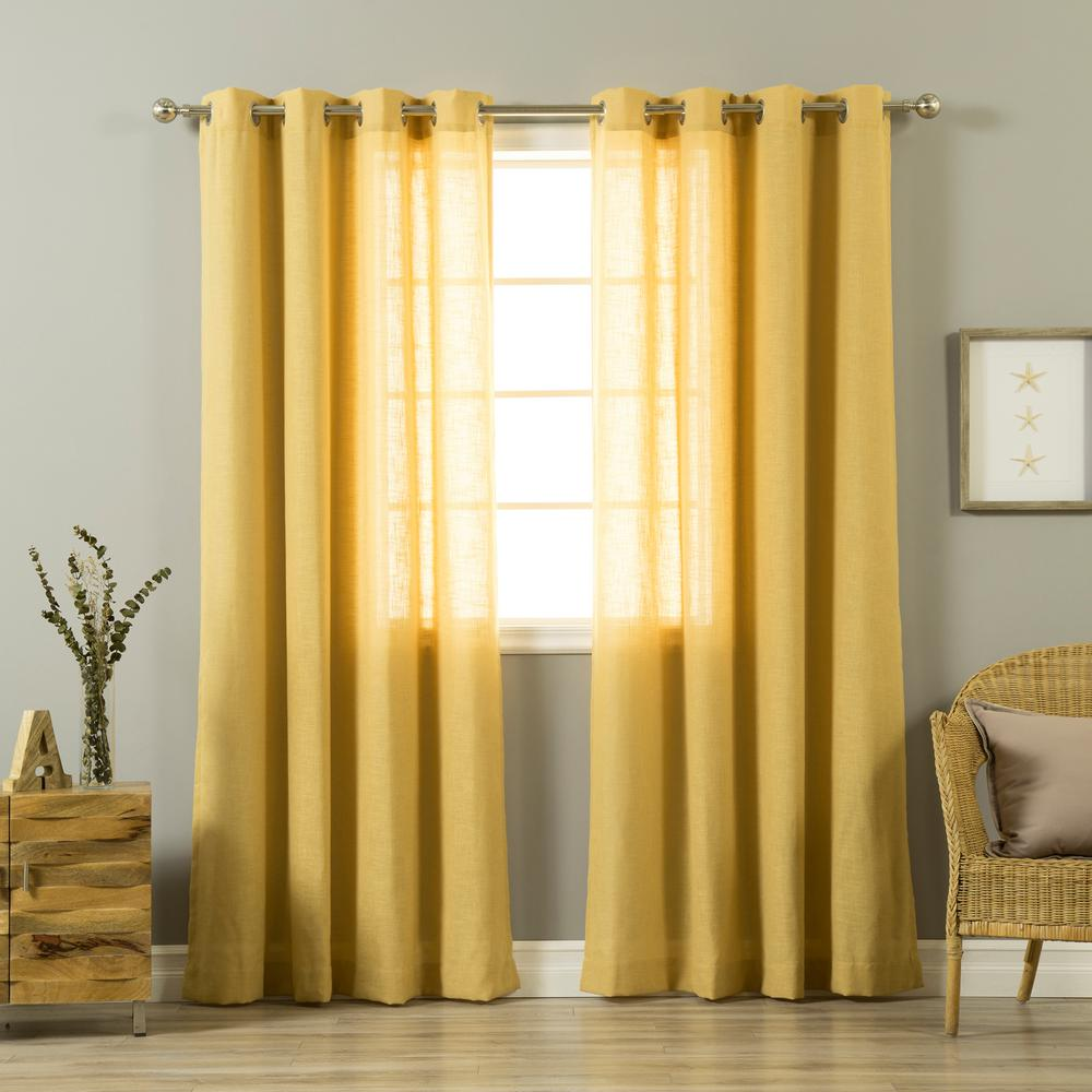 L Mustard Yellow Linen Blend Curtain Panel 2 Pack