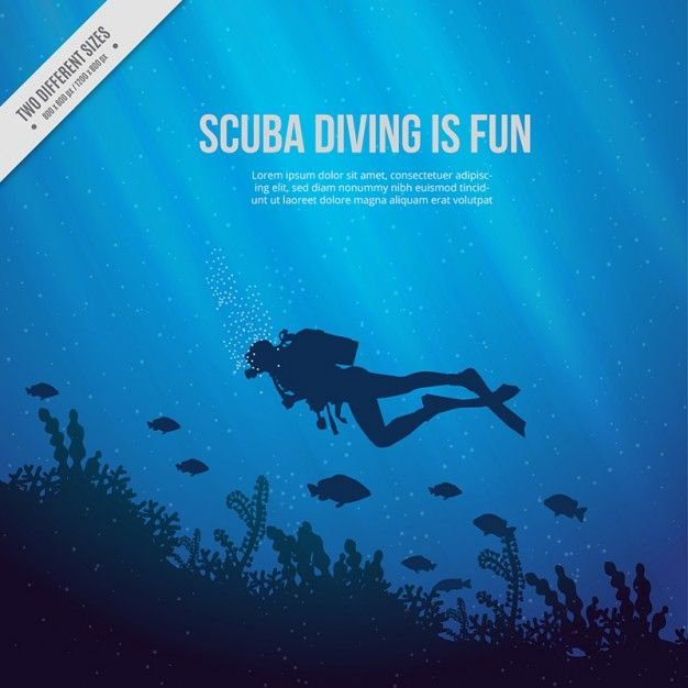 Underwater Scuba Diving Silhouette