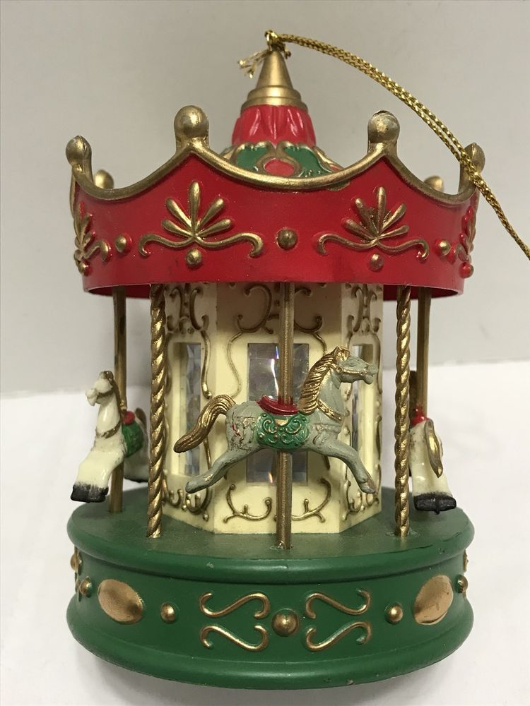 Vintage Carousel Christmas Tree Ornament Plastic Horse Merry Go Round 4