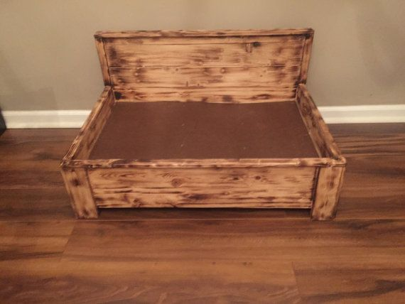 Rustic Wood Dog Bed With Pull Out Feeding Station Raised