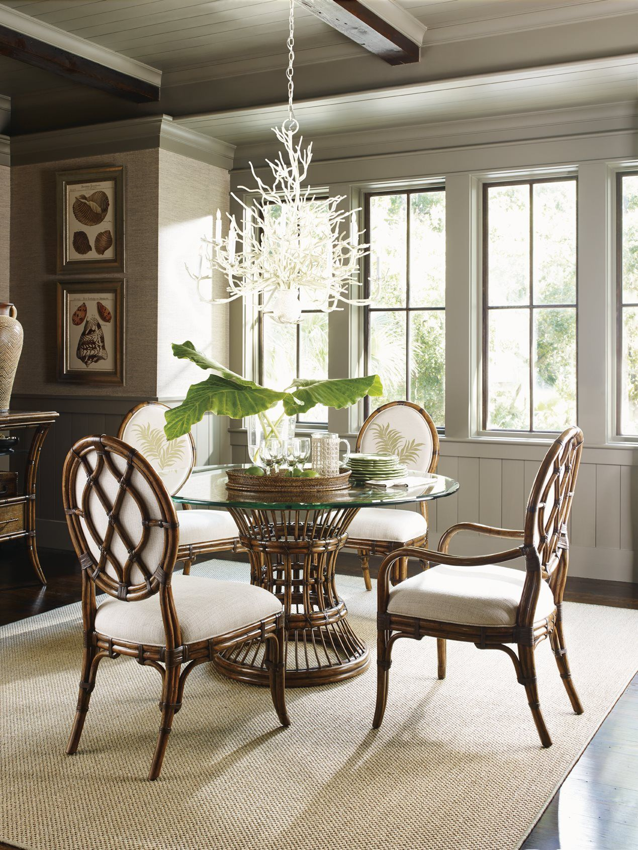 Tommy Bahama Bali Hai 593 875 Latitude 48 Round Dining Table British Colonial Decor Dining Table Bases Casual Dining Room Tables