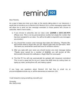 editable parent letter to inform parents on the purpose of remind 101 as well as how
