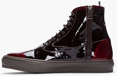 8effd1f689b12 Alexander Mcqueen Black and Burgundy Patent Leather High Top Sneakers in Red  for Men (black) - Lyst