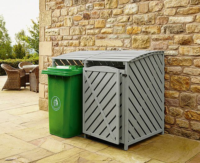 Disguise Unsightly Rubbish Bins In Your Garden With This Special Wheelie Bin Store It Offers Stylish And Practical S Bin Store Recycling Storage Outdoor Cover