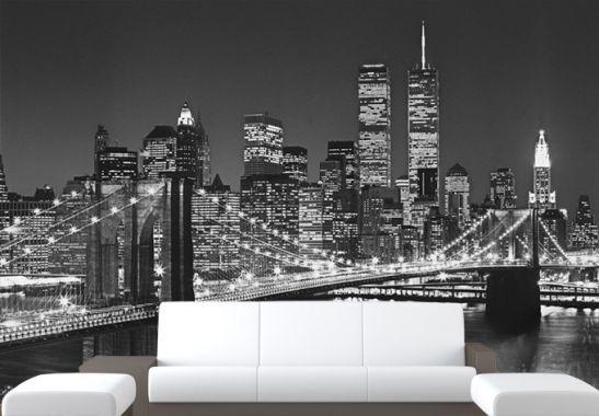 Fototapete Papiertapete Brooklyn Bridge   Die Fantastische Skyline Von New  York Als Riesige Schwarz Weiße Foto Tapete | Wall Art.de