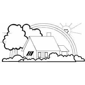 House And Rainbow Coloring Page