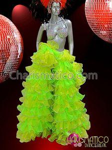 Charismatico Sissy Green Organza cabaret SHOW Drag queen Ruffle long train Coat