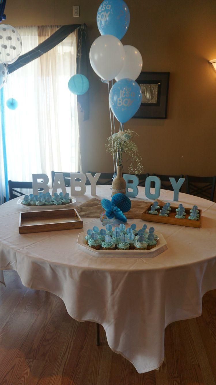 Dessert table.. Baby boy cardboard letters and center ...