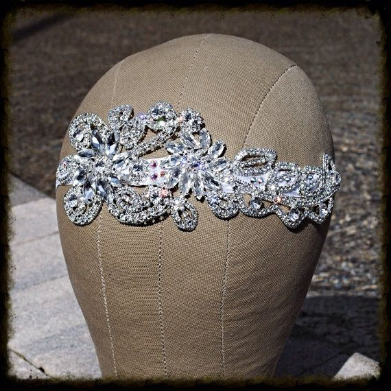 Stunning Silver Crystal Headband White by glamourpusscouture, $45.00 #bride #wedding #bridalhair