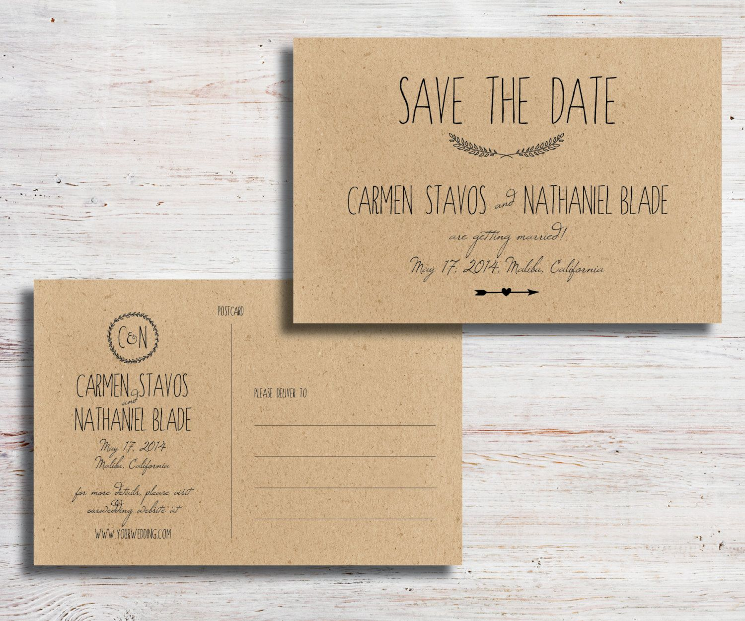 Rustic printable save the date postcard diy by simplyfetchingpaper