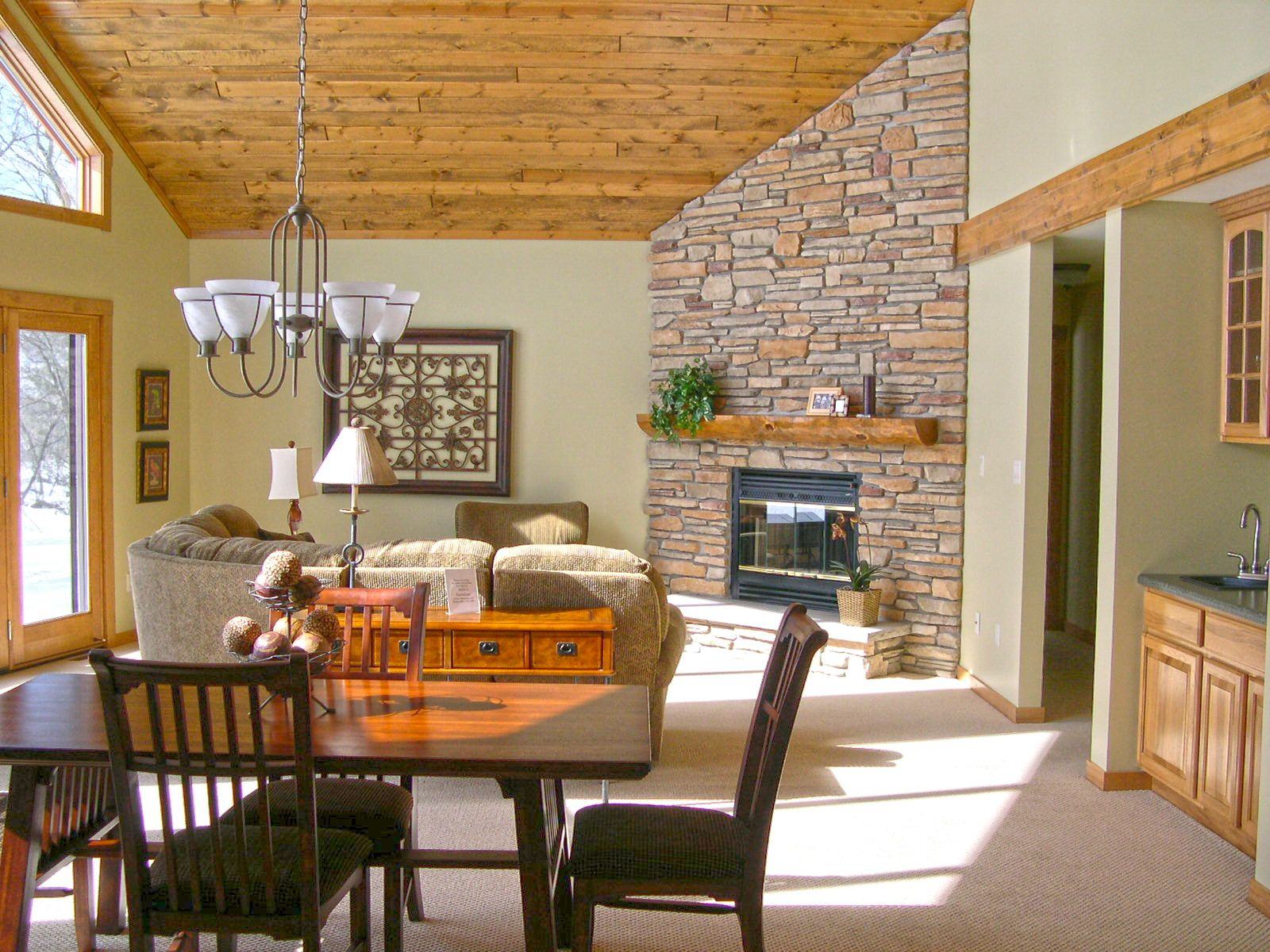 Ledge Stone Fireplace With Split Log Mantle Pine Ceiling