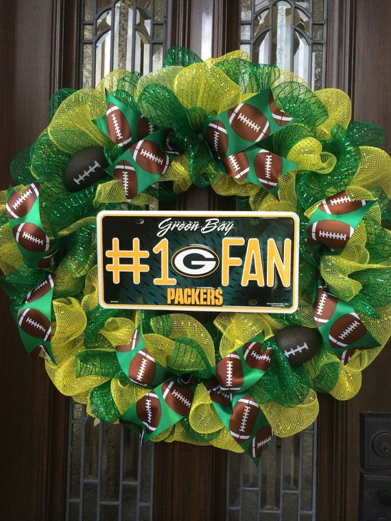 Green Bay Packers Wreath By Cc4alloccasions On Etsy Green Bay Packers Wreath Packers Wreath Diy Deco Mesh Wreath