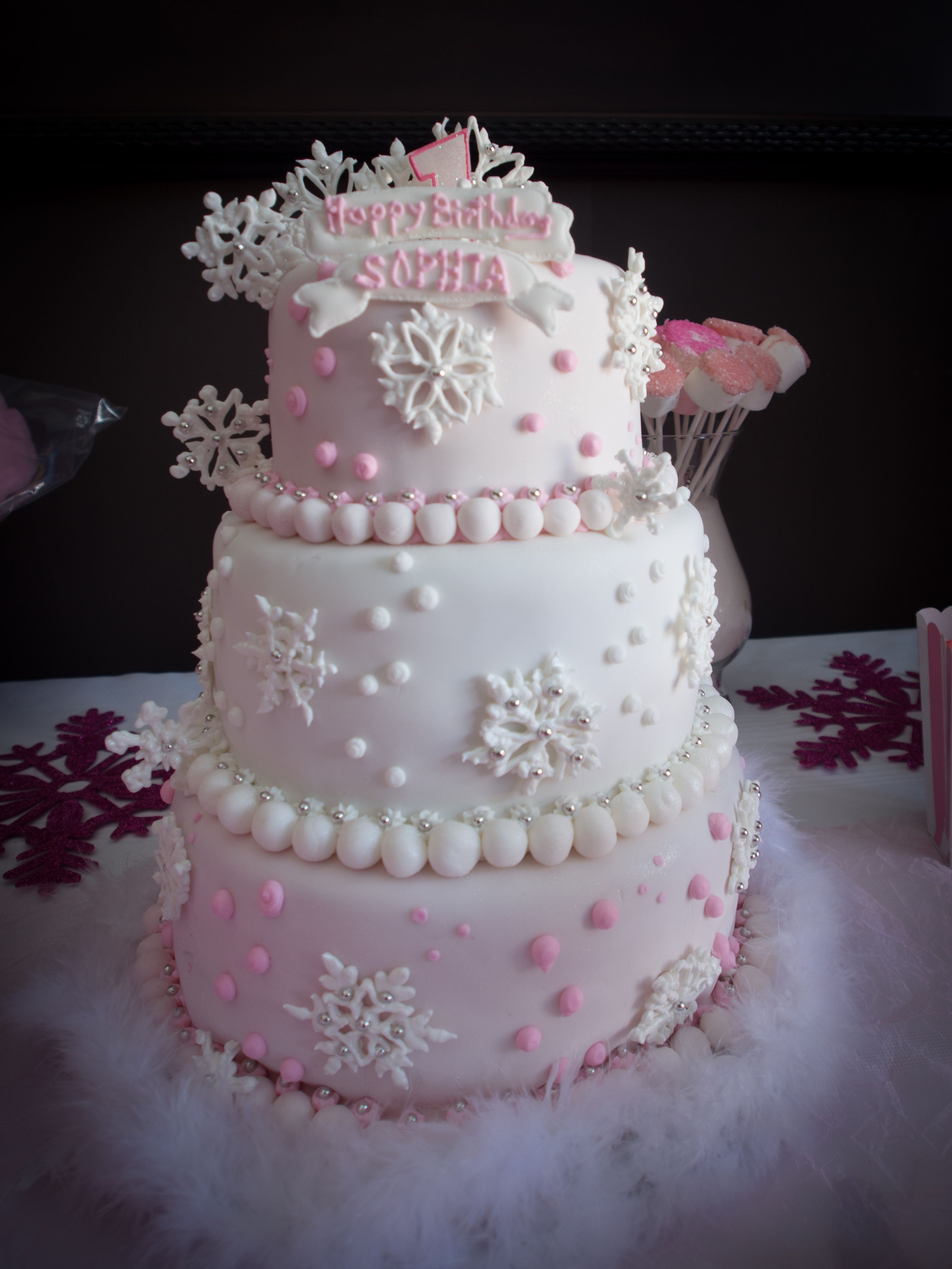 Sophias Winter ONEderland First Birthday Pink And White Snowflake