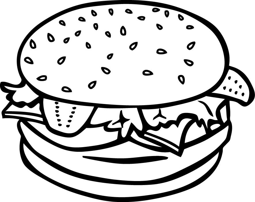 Hamburger Food Coloring Pages Food Coloring Food Drawing