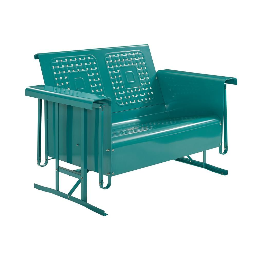 Crosley Bates 2 Person Turquoise Metal Outdoor Glider Co1024 Tu The Home Depot In 2020 Outdoor Loveseat Outdoor Glider Patio Loveseat