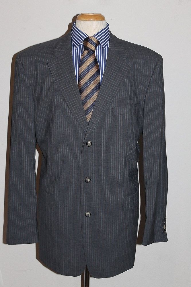 9b2fb1a6a Hugo Boss Suit 46L Angelico/Lucca Model Pinstripe 3-Button Front #HugoBoss  #ThreeButton
