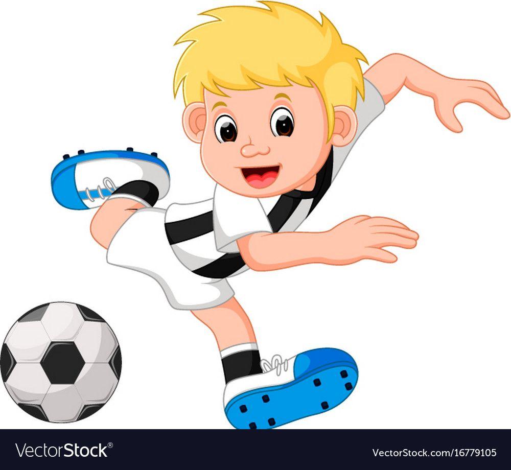 Boy Cartoon Playing Football Vector Image On Vectorstock In 2020 Boy Cartoon Characters Cartoon Cartoon Boy