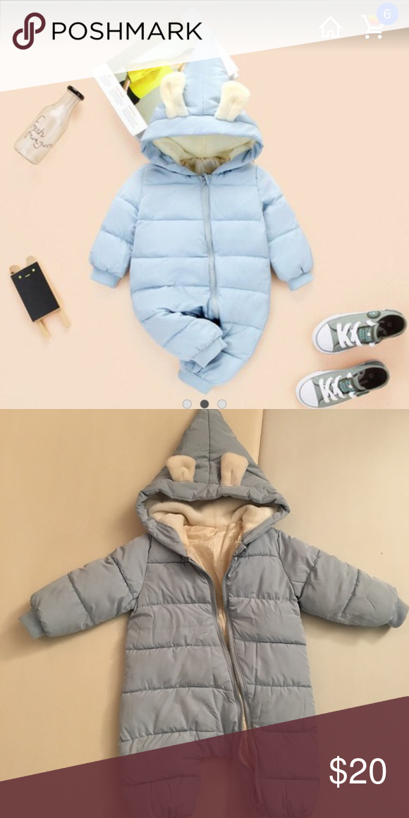 Happy Cherry Baby Adorable Hoodie Jumpsuit Snow Suit Winter Zip Up Long Sleeve One-Piece Coat