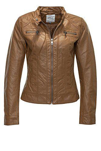 Only Damen Kunstlederjacke Taifun PU Jacket 15098439 Cognac M