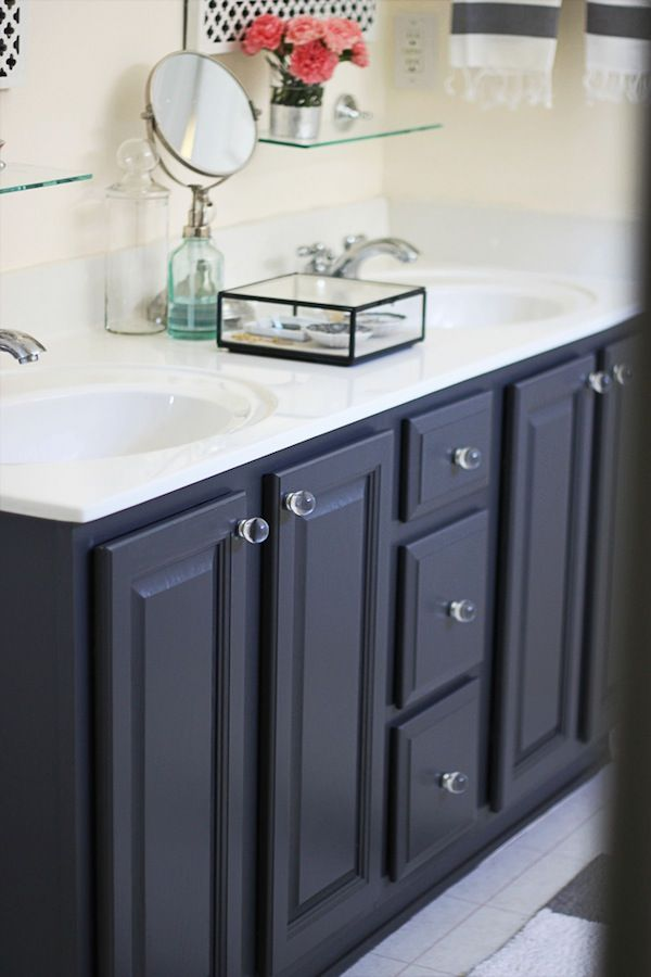39 gray 39 by ben moore my painted bathroom vanity before for Bathroom vanity decor pinterest