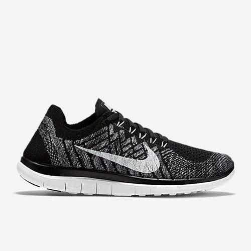 Nike Free 4.0 Flyknit Women Black Grey White Running Shoes