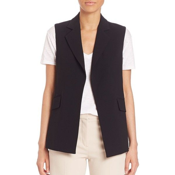 Theory Sedeia Crepe Vest ($390) ❤ liked on Polyvore featuring outerwear, vests, apparel & accessories, black, sleeveless waistcoat, theory vest, vest waistcoat and sleeveless vest