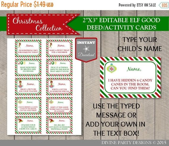 instant download editable elf good deed and activity cards
