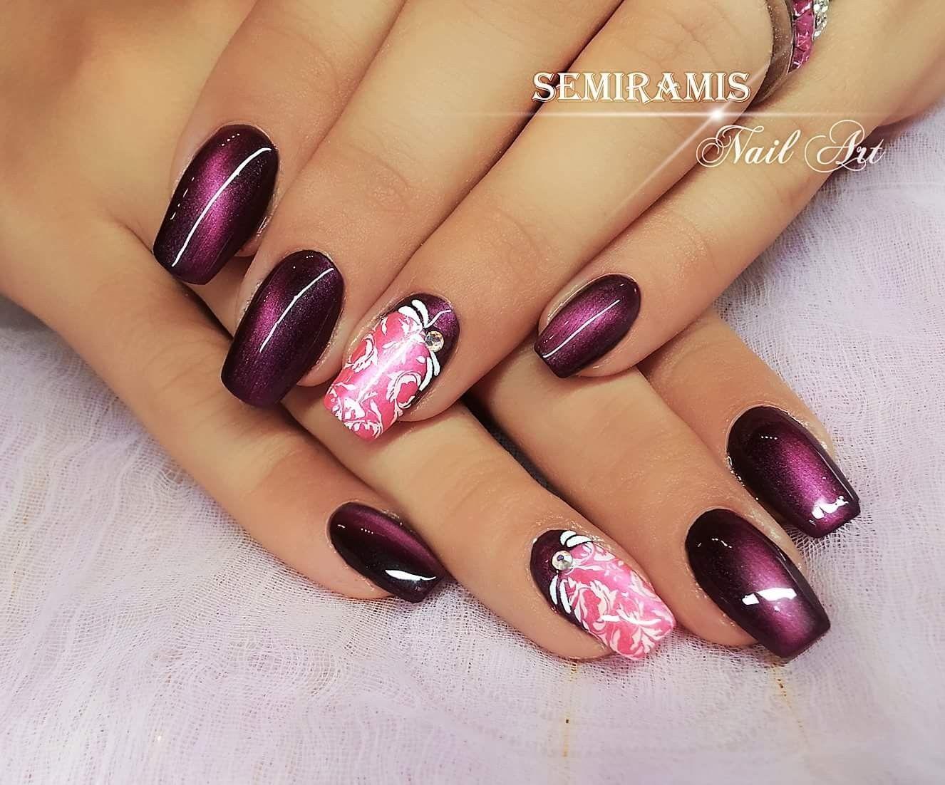 Magentic gel polish, cat eye effect, claret, pink, white nail ...
