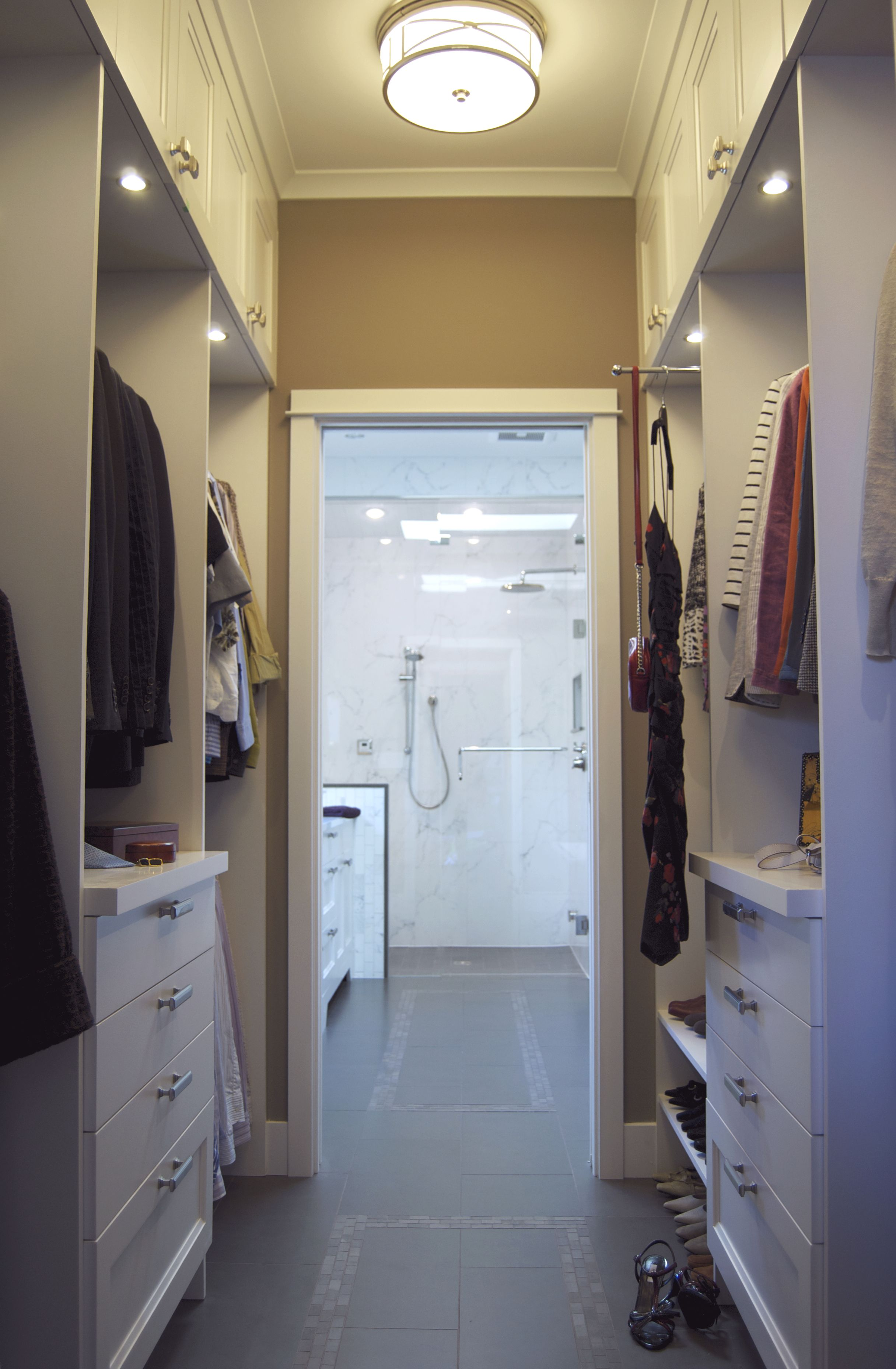 Corey klassen interior design dunbar closet for Master bathroom designs with walk in closets