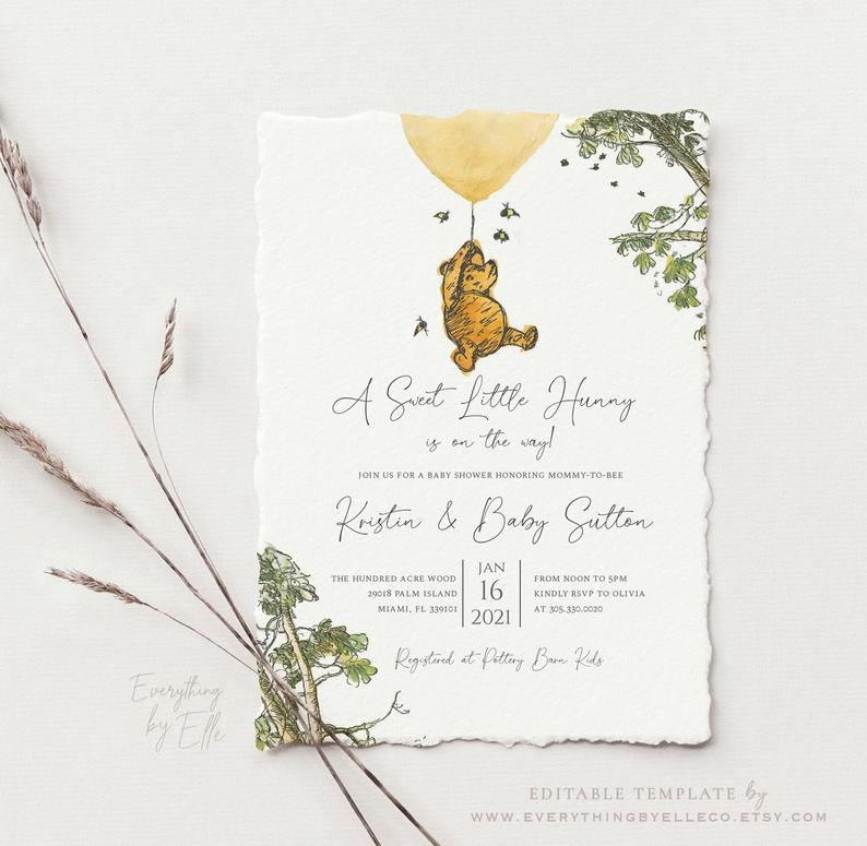Winnie The Pooh Baby Shower Invitation Gender Neutral Pooh Baby Shower Template Instant Download Greenery Editable Winnie The Pooh Decor In 2021 Baby Shower Invitations Baby Shower Shower Invitations