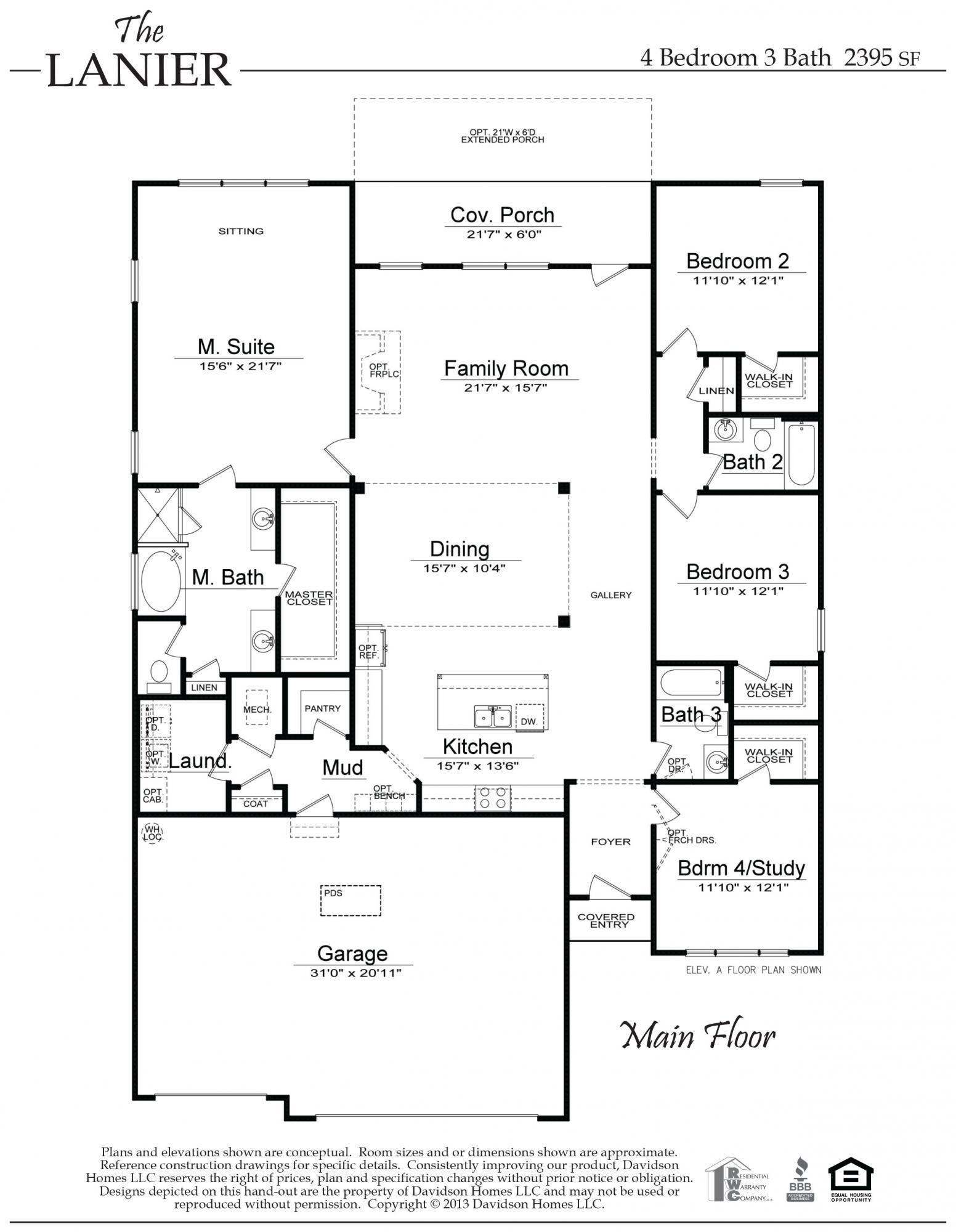 The Lanier Al New Home Construction Davidson Homes 2395 Sq Ft House Floor Plans House Plans Dream House Exterior
