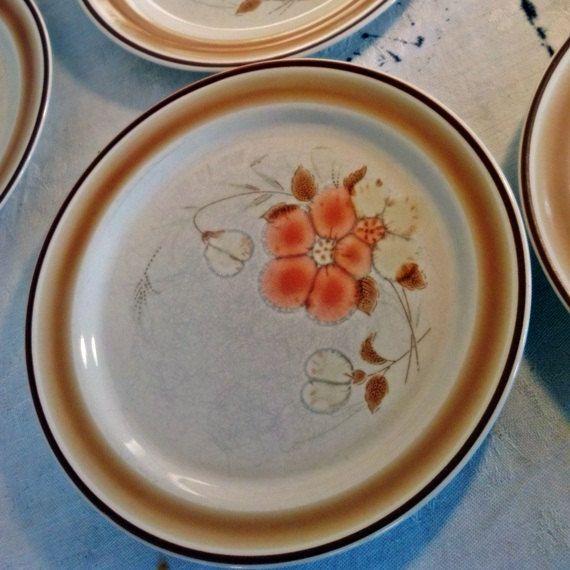 Vintage Hearthside Stoneware Brown Orange and White Floral Plates ...