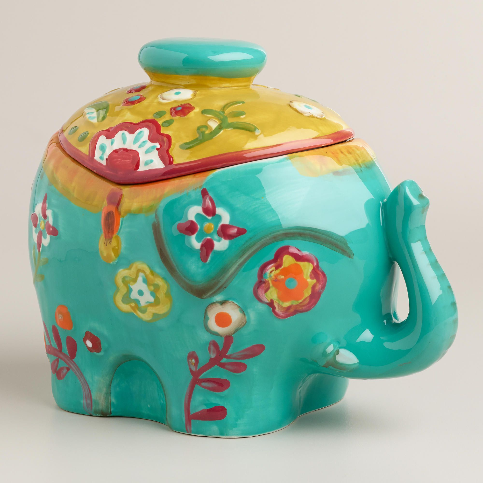 Our colorful, Indian-inspired elephant cookie jar adds a royal touch ...