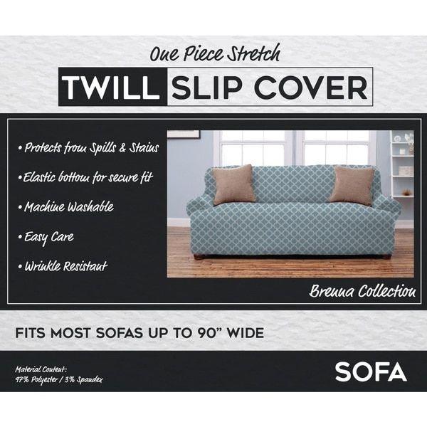 Brenna Collection Trellis Print Stretch Form Fitted Sofa Slip Cover Slipcovered Sofa Slipcovers Sofa