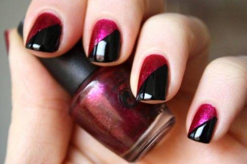Nail Polish Design Simple Nails Two Color Nails Nail Art Designs Diy