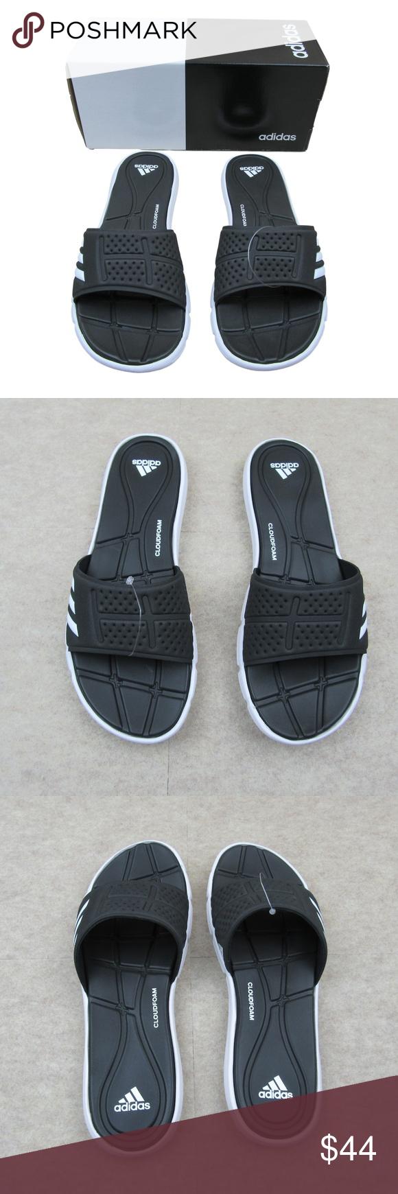 2190e590e733 Adidas Adilette Adipure CF Slippers Sandals Size 8 Adidas Adilette Adipure  CF Slippers Sandals Soft Black Flats BB4558 Size 8 Women s Black   White  Logo ...