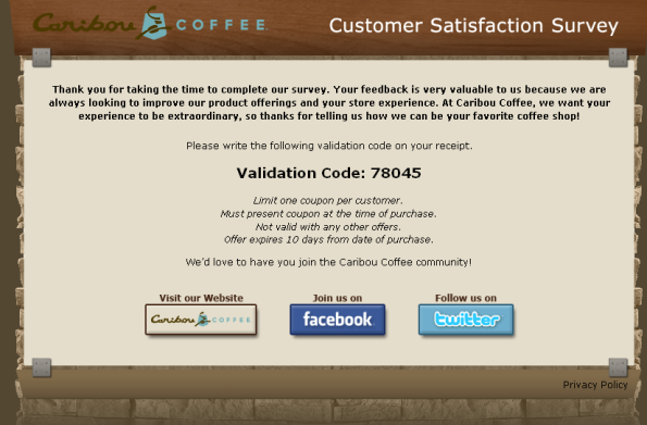 Caribou Coffee Customer Satisfaction Survey WwwTellcaribouCom
