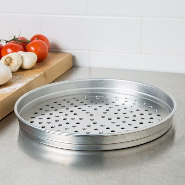 American Metalcraft Pha5110 5100 Series 10 Perforated Heavy Weight Aluminum Straight Sided Self Stacking Pizza Pan In 2020 American Metalcraft Carbon Steel Pan Types Of Pizza