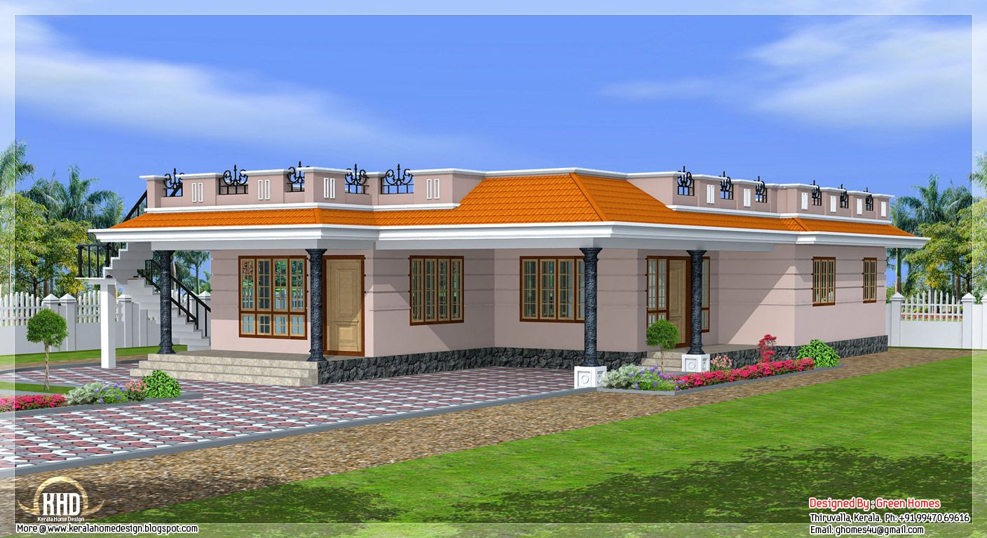 Kerala style single storey 1800 home design home for One level house designs