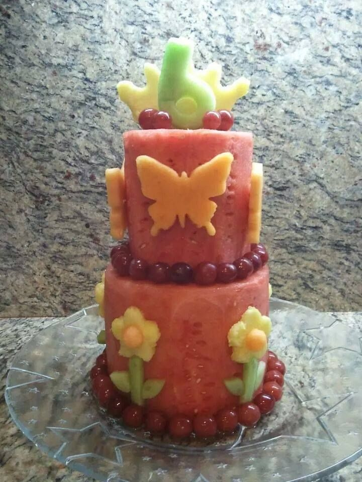 This is a great spin on a watermelon cake with no icing